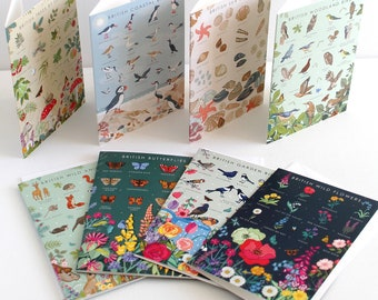 Notecard Pack of 8 - British Nature Guide Cards -  Notecard Set - Greeting Cards -  Nature - Wildlife - Botanical - Thank you cards