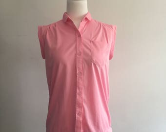 Pink vintage polyester top size 10