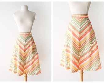 1970's Candy Striped Skirt - Highwaisted A-line skirt - Colorful Chevron Printed Skirt - Flared Retro Circle Skirt -Size Small