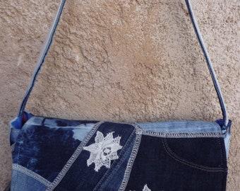 Lace flowers and patchwork denim shoulder bag