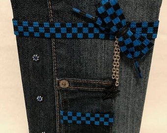 "Denim Covered Lined Journal, 5"" x 7"" // Dark Denim w/Pocket, Blue and Black Checker Shoelace, Black Star Charm and Silver Chain"