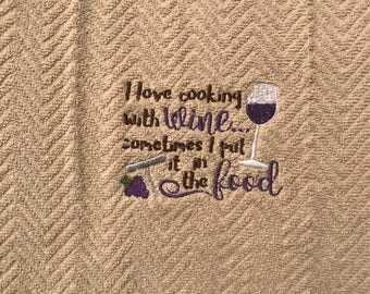 Kitchen towel with embroidery