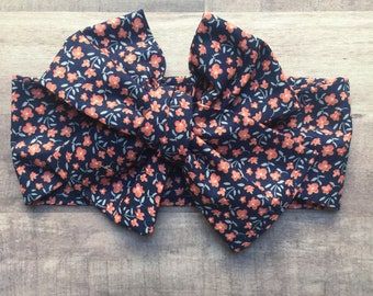 Wrap Headband - Hair Wrap - Headwrap - One Size - Newborn-Toddler-Child-Adult - Navy W/ Peach Floral