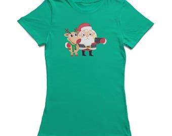 Christmas Santa & Rudolph Selfie  Women's Kelly Green T-shirt