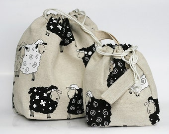 Set of 2 Lucky Sheep Knitter Project Bags. Large and Mini.