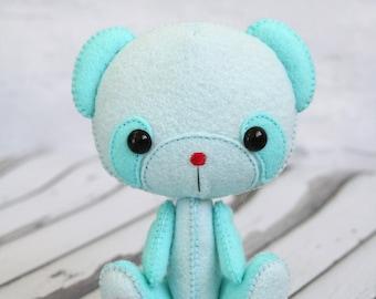 Gingermelon bear, felt bear, felt panda bear, Li'l Sweetheart Bear, Gingermelon, heirloom doll, doll, felt doll, bear, teddy