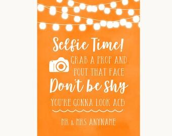 Orange Watercolour Lights Selfie Photo Prop Personalised Wedding Sign