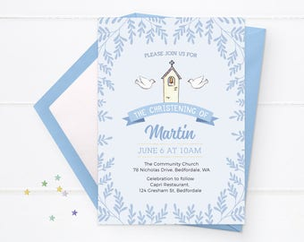 Christening invitation Girl or Boy. Baptism Invitation, Christening Invitations Printable Confirmation Invite First Communion invitation pdf