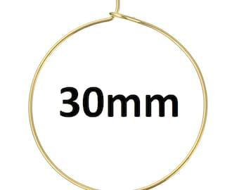 100 Gold Plated Wine Charm/Earwire Hoop Rings - 30mm  -20 Gauge
