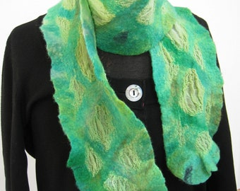 Green Diamonds Nuno Felt Silk Skinny Scarf