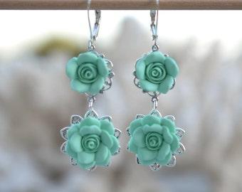 Double Rose Earrings in Mint Green. Mint Green Rose Earrings. Mint Bridesmaid Earrings.