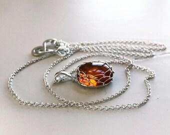 Amber and Sterling Silver Pendant Necklace - Honey Golden Orange - Genuine Amber - Spiral Design