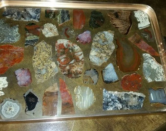Mid Century Modern Lucite and Metal Barware Tray Agate Decoupage Stone Vintage Hollywood Regency Serving Tray