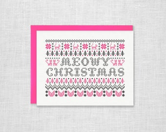 Meowy Christmas Letterpress Holiday Card - Cat Lover, Cat Lady, Fair Isle