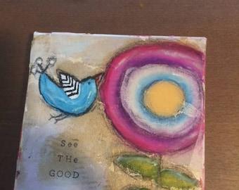 See The Good original art canvas