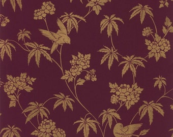 Wallpaper Gold Bird and Floral Jacobean Toile Gold Metallic on Burgundy Plum - Damask, Large Scale, Elegant, Exotic - By The Yard CH28282 *