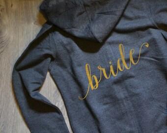 Bride Hoodie, Bride Shirt, Wifey Shirt, Mrs. Shirt, Gold Silver, Bachelorette Party Shirts, Bridesmaid Shirts, Bride Jacket, Bride Gift