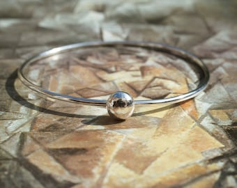 Handmade Sterling Silver Bangle With Silver Ball Detail, Narrow Bangle