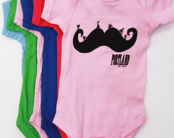 Mustache | Baby Bodysuit | Bike | infant jumpsuit | Portland oregon