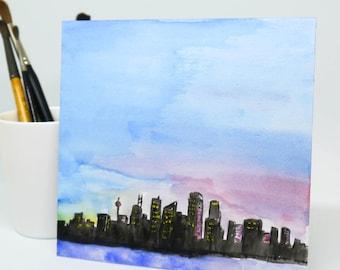 Watercolour Sydney Cityscape - ORIGINAL