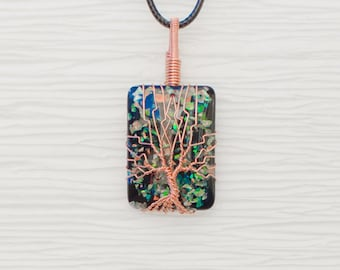 Wire Wrapped Simulated Black Opal Tree of Life Pendant Necklace