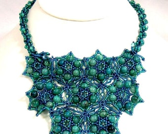 Blue Bib Necklace Turquoise Aqua Teal Statement Beadwoven Green Crystal Stars Handmade Beadwork