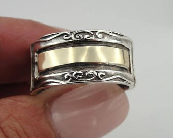 925 Sterling silver and 9K Yellow gold Ring, Silver band, Yellow gold Ring size 8.5, Wedding Ring, Unisex Ring, Men Ring, Gift  (s r1792)