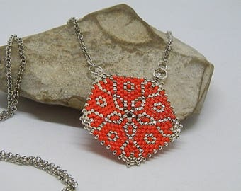 Woven red and Silver Needle necklace