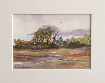 By the Lake, Original Watercolour Painting with Mat Board
