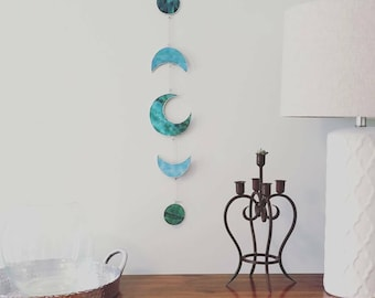 Moon Phase Stained Glass Wall Hanging