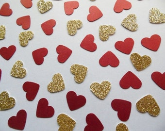 Gold Glitter Heart Confetti, Red Shimmer Hearts, Table Scatter, Wedding Reception Decor, Party Decoration, Bridal Shower Decor