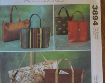 McCalls 3894, bags, totes, UNCUT sewing pattern, craft supplies