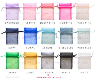 25 Colorful Organza Favor Bags. Choose your Colors. 3x4 Inch. OB3X4