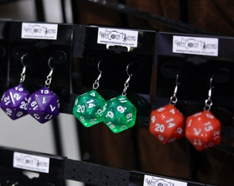 Polyhedron Dice Earrings, d20, dnd, acrylic, drop, blue, red, coral, orange, green, pink, sparkly, geek, copper, handmade, nerd