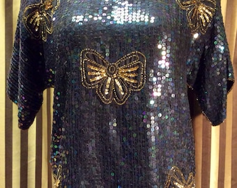 14.99 - Vintage 1990's Black Silk Jewel Queen blouse size small. Sequins and Beading
