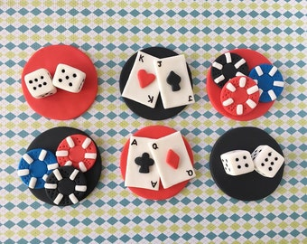 Casino poker party, playing cards, poker chips, dices fondant cupcake toppers
