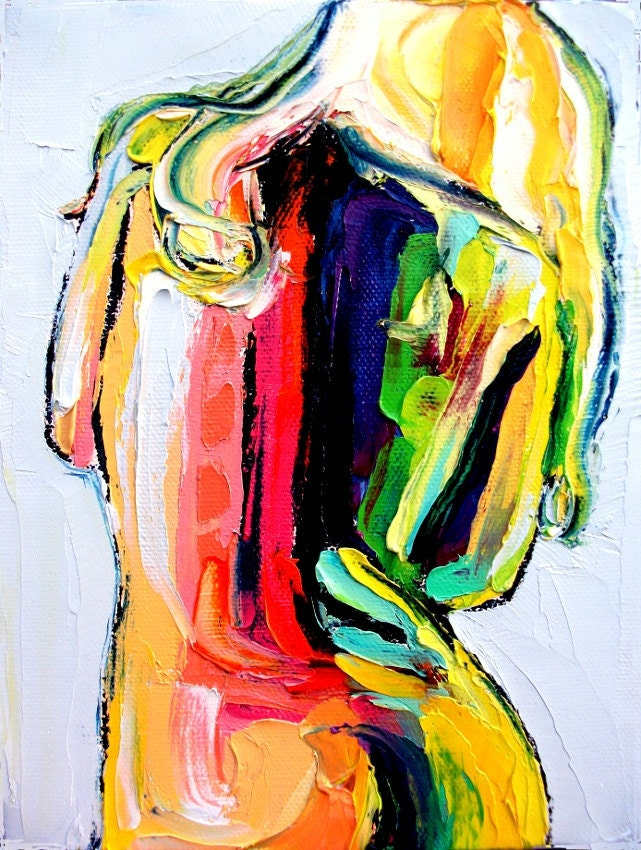 Femme 152 18x24 abstract nude signed Lustre print