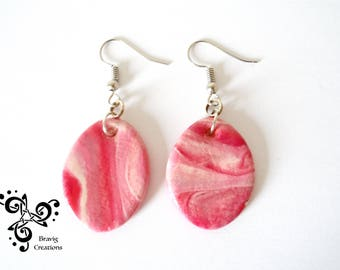 Ovale earrings pink sweet colors from cold porcelain - Marbrures