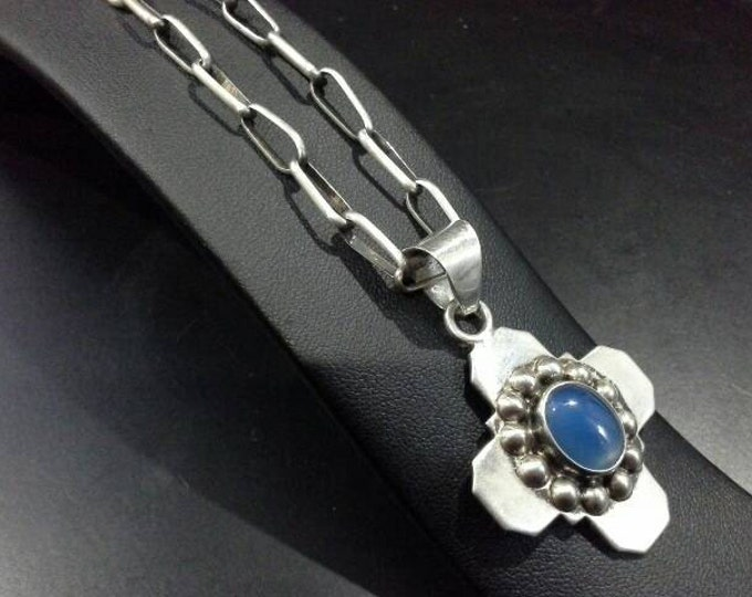Vintage Taxco Mexico Signed Sterling Silver Cross with Chalcedony Cabochon TG-117 on Navajo Silver Chain Necklace