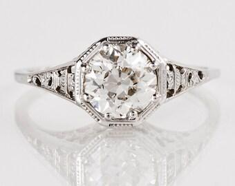 Antique Engagement Ring - Antique 1910's 18K White Gold Diamond Engagement Ring