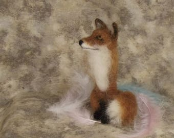 Needle felted Animal, Needle felted fox, Needle felted sitting fox, Red fox, Needle felted sculpture