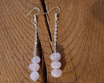 Rose Quartz earrings, pink earrings, rose quartz jewelry, pink dangle earrings, pink jewelry, gift for her, Valentines gift, galentines gift
