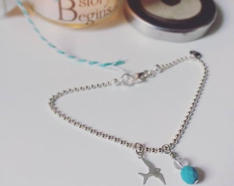 """A bead chain bracelet with charms Silver 925 and """"swallow"""" gemstone pendant"""