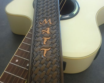 Hand Made Carved Leather Guitar Strap, Hand Tooled, Personalized with Your Name, For Acoustic or Electric