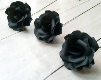 3 x Black Roses, Handmade Paper Flowers, Table Decorations, Wedding Flowers, Anniversary Gift x 3 Flowers