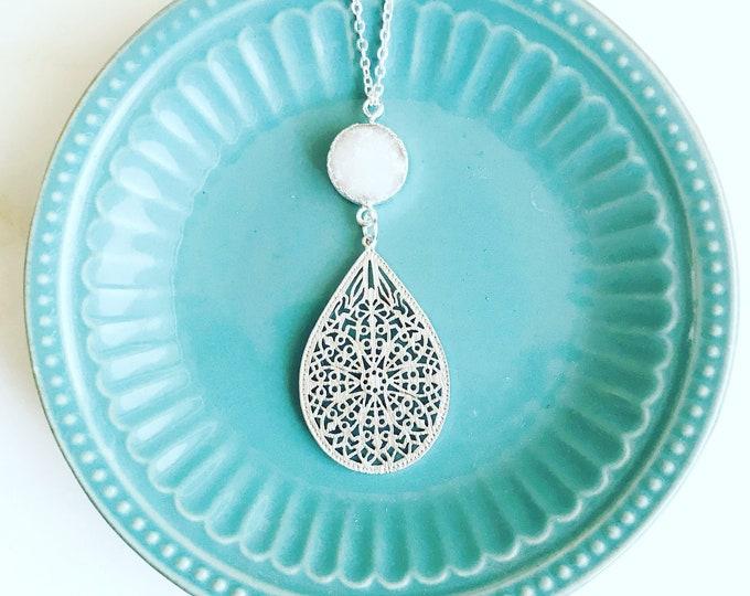 Long Silver Necklace. Long Druzy Necklace. Silver Teardrop Pendant Necklace. Boho Jewerly, White Druzy and Silver Teardrop Necklace. Gift.