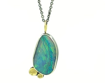 Sterling Silver and 18 Karat Gold Opal Pendant Nature Jewelry Eco Friendly Recycled Necklace