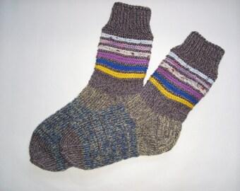 SALE! -Hand Knitted Wool Socks -Colorful Socks for Women - Wool Socks Size Large-US W10-10,5,EU42