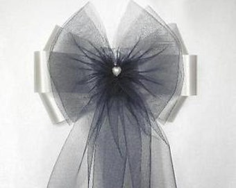 10 x Stunning Pearl Heart Fluffy Tulle Chair Back Pew End Bows
