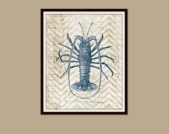 LOBSTER Art Print, SEASIDE Wall Art, BEACH Wall Decor, Beach Cottage